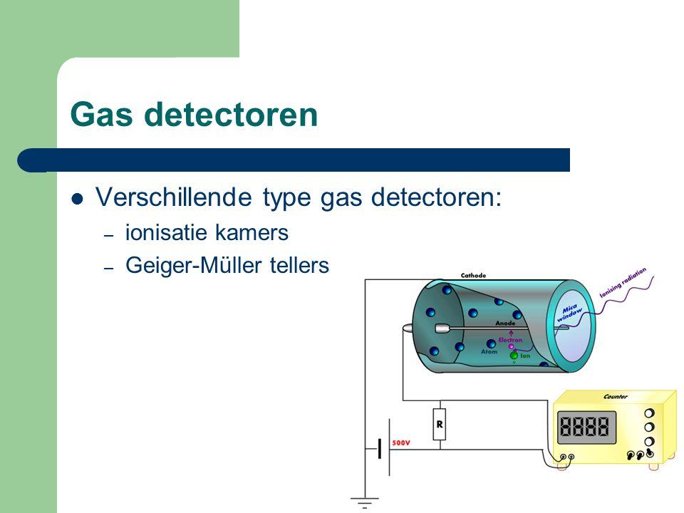 Gas detectoren Verschillende type gas detectoren: – ionisatie kamers – Geiger-Müller tellers