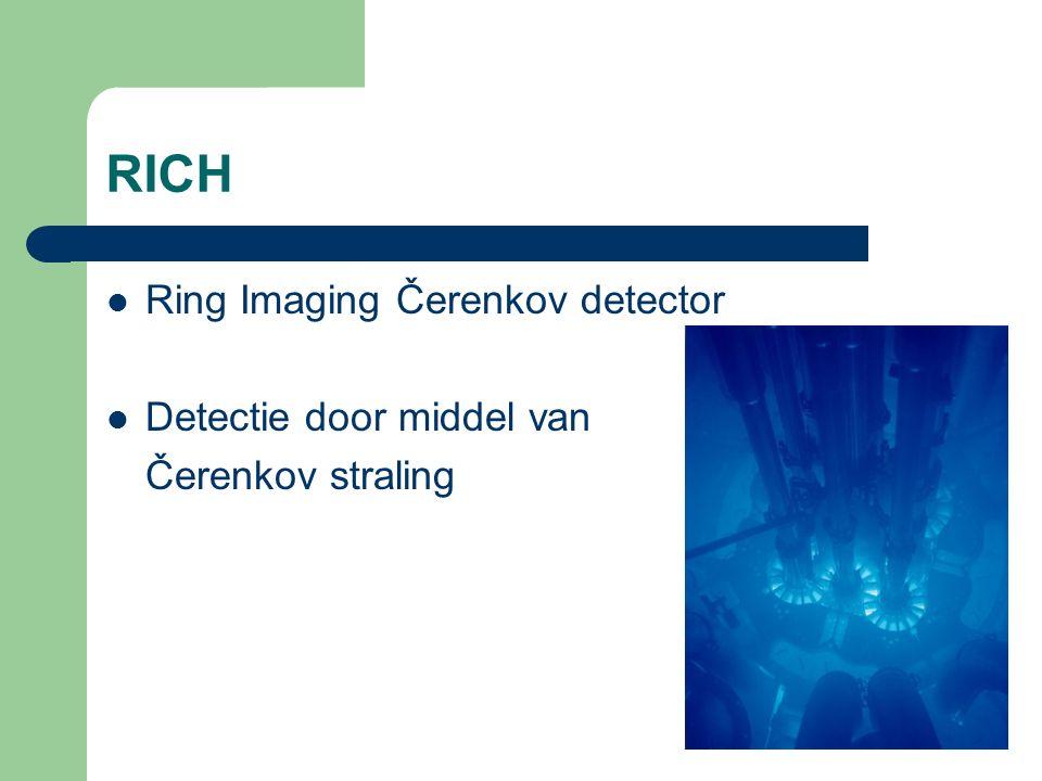RICH Ring Imaging Čerenkov detector Detectie door middel van Čerenkov straling