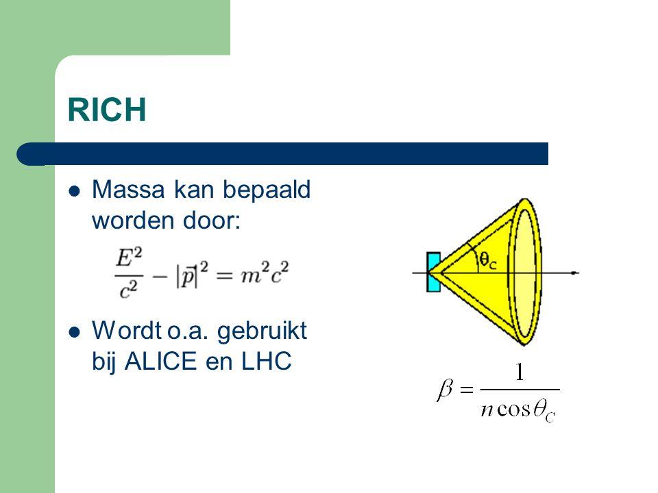 RICH Massa kan bepaald worden door: Wordt o.a. gebruikt bij ALICE en LHC