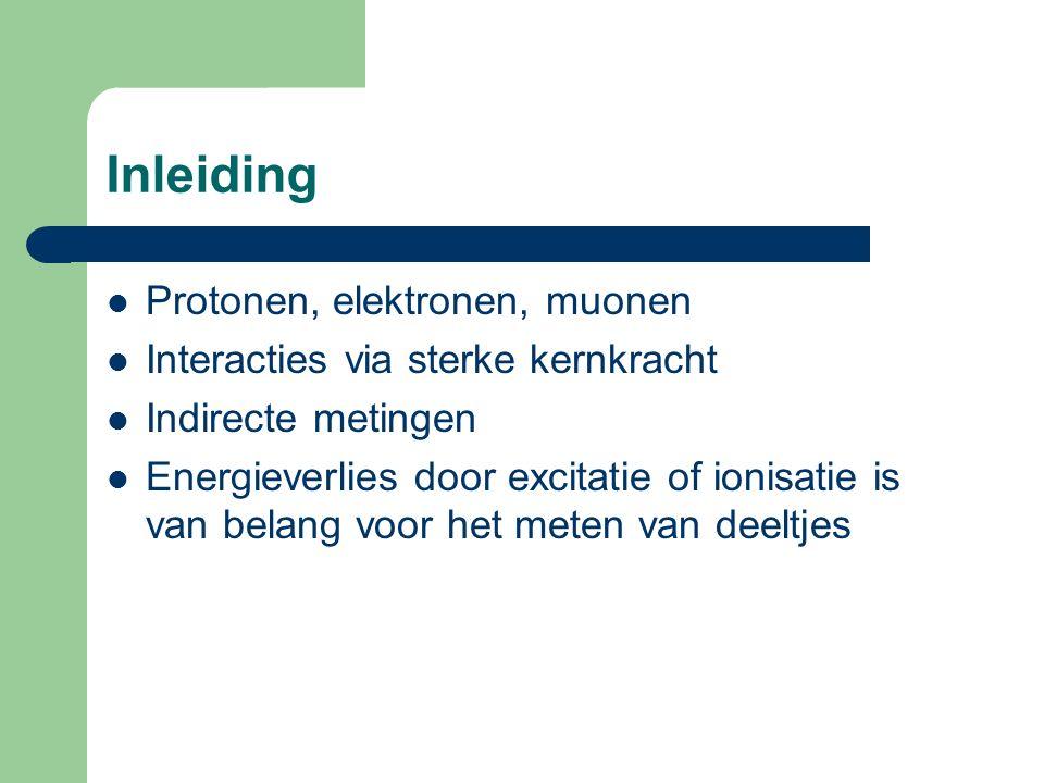 Inleiding Protonen, elektronen, muonen Interacties via sterke kernkracht Indirecte metingen Energieverlies door excitatie of ionisatie is van belang voor het meten van deeltjes