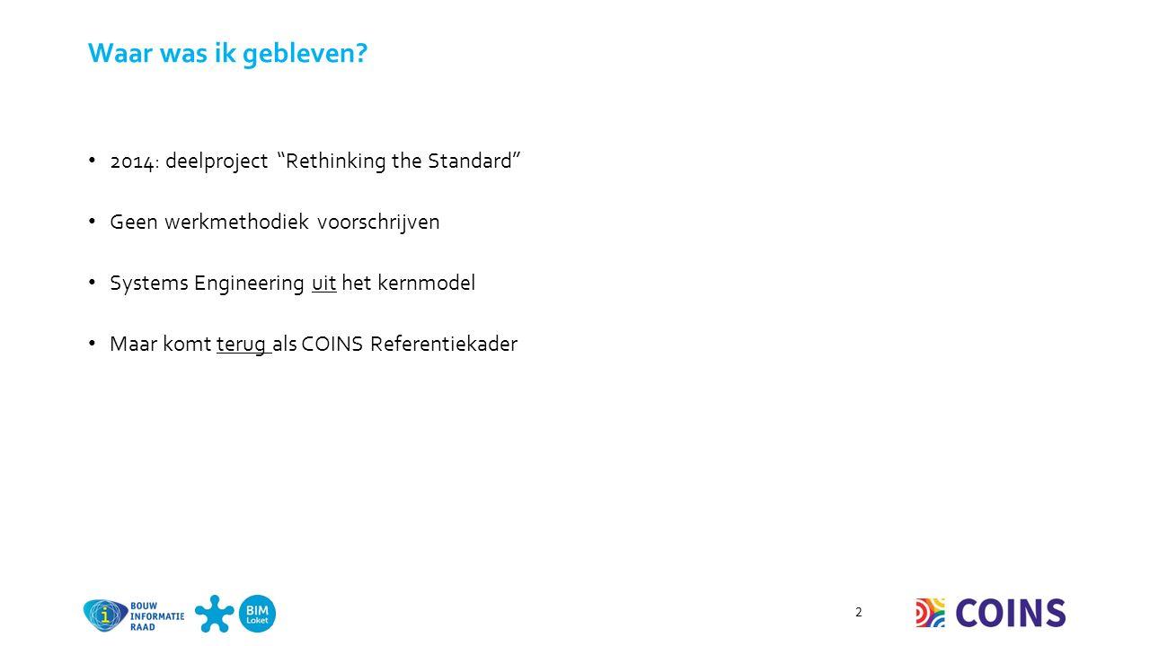 Werkgroep SE-BIM Gezamenlijke werkgroep van BIR en 4P Stuurgroep Systems Engineering Vertegenwoordigers van RWS, ProRail, Nlingenieurs, Bouwend Nederland, Uneto-VNI en Vereniging van Waterbouwers o Gezamenlijke ontwikkeling en implementatie van SE in de Nederlandse bouwpraktijk o Leidraad voor SE binnen de GWW-sector , versies 1, 2 en 3 3