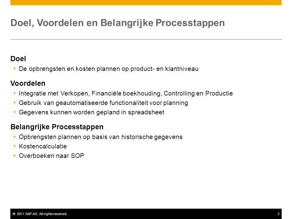 ©2011 SAP AG. All rights reserved.2 Doel, Voordelen en Belangrijke Processtappen Doel  De opbrengsten en kosten plannen op product- en klantniveau Vo