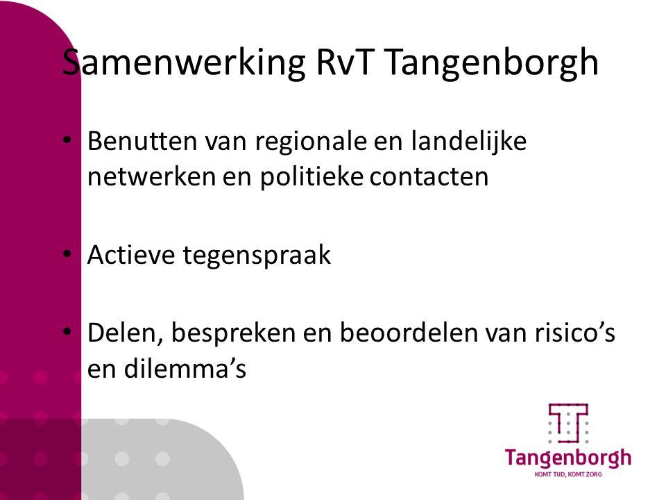 Samenwerking RvT Tangenborgh Benutten van regionale en landelijke netwerken en politieke contacten Actieve tegenspraak Delen, bespreken en beoordelen van risico's en dilemma's