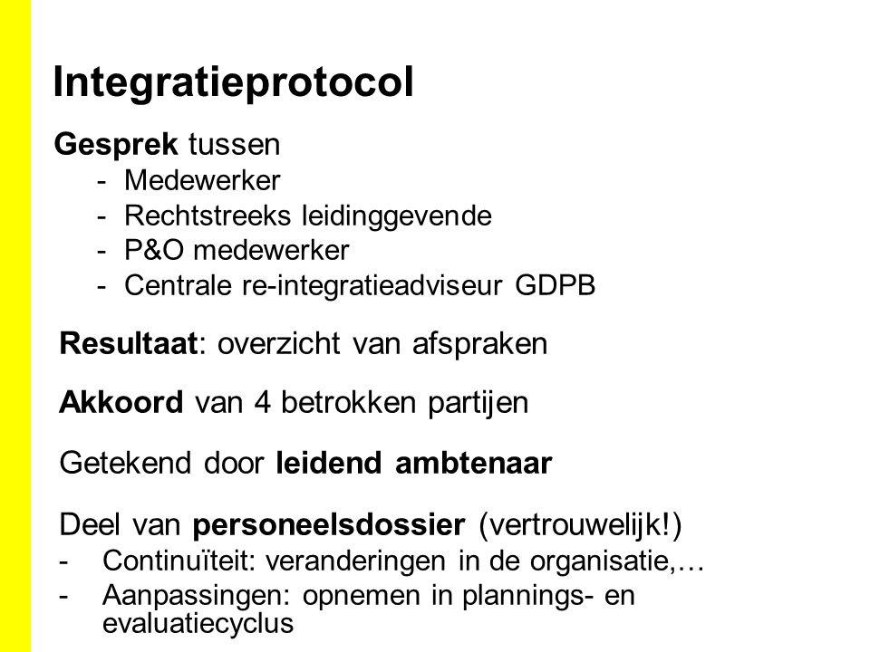 Integratieprotocol Gesprek tussen -Medewerker -Rechtstreeks leidinggevende -P&O medewerker -Centrale re-integratieadviseur GDPB Resultaat: overzicht v