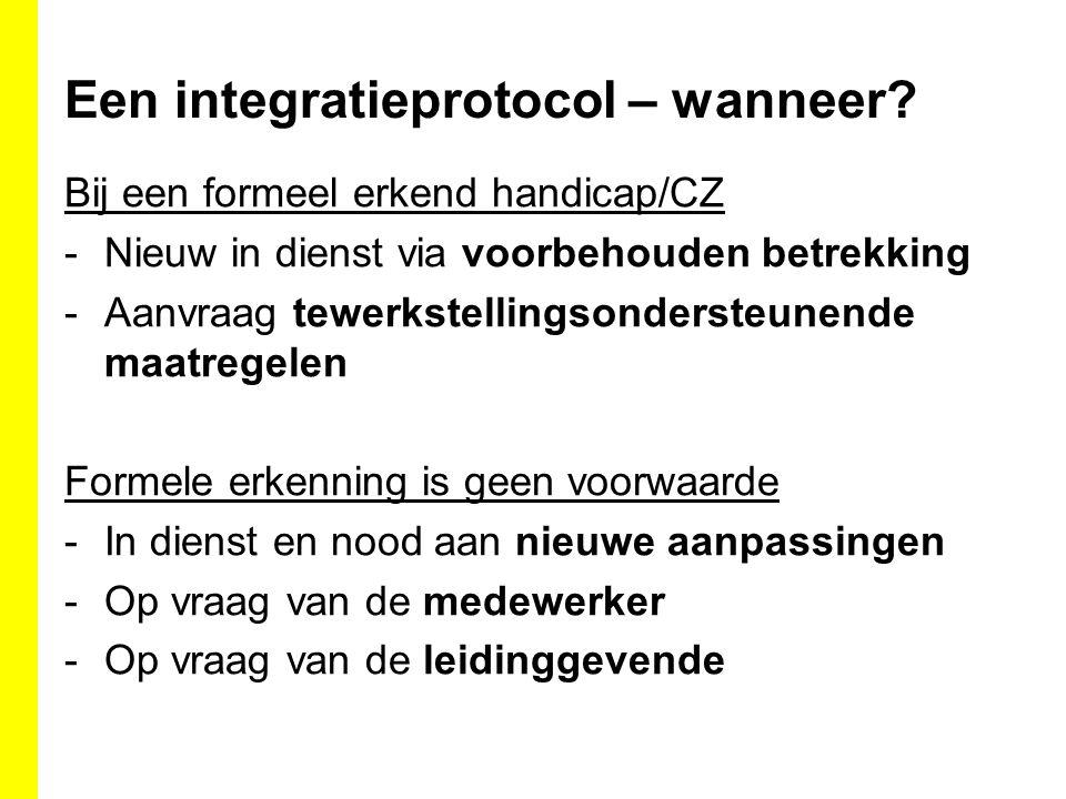 Een integratieprotocol – wanneer? Bij een formeel erkend handicap/CZ -Nieuw in dienst via voorbehouden betrekking -Aanvraag tewerkstellingsondersteune