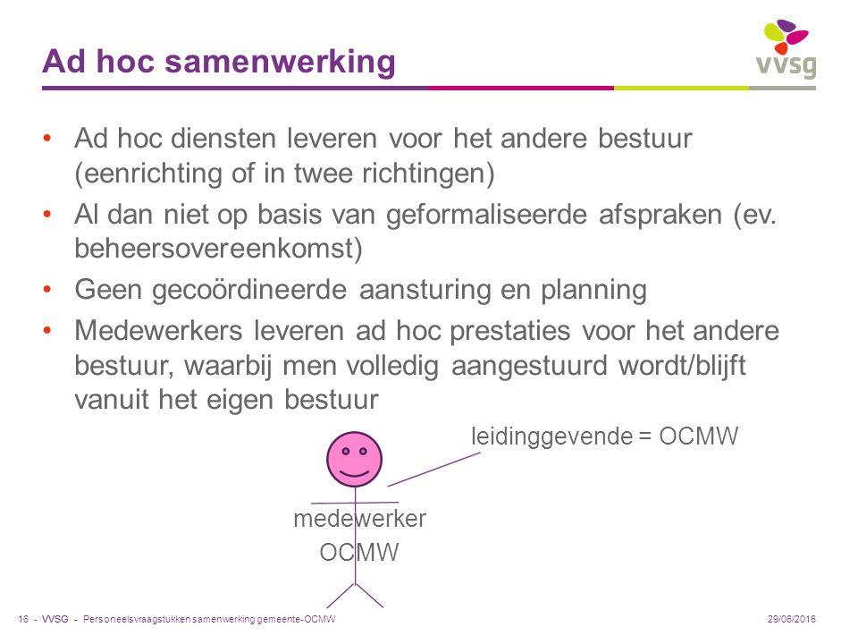 VVSG - Ad hoc samenwerking Ad hoc diensten leveren voor het andere bestuur (eenrichting of in twee richtingen) Al dan niet op basis van geformaliseerde afspraken (ev.