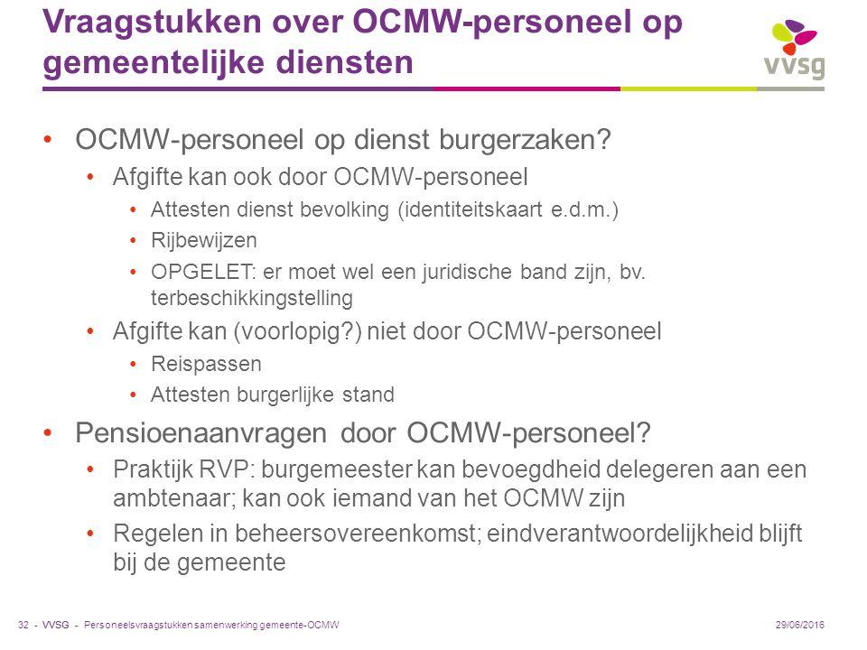 VVSG - Vraagstukken over OCMW-personeel op gemeentelijke diensten OCMW-personeel op dienst burgerzaken.