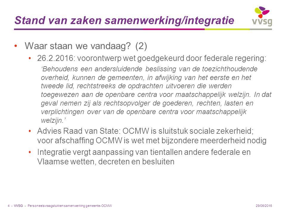 VVSG - Stand van zaken samenwerking/integratie Waar staan we vandaag.