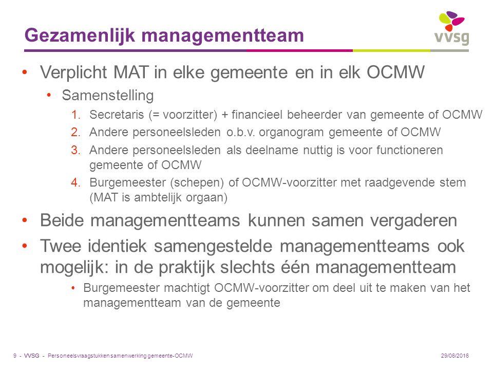 VVSG - Gezamenlijk managementteam Verplicht MAT in elke gemeente en in elk OCMW Samenstelling 1.Secretaris (= voorzitter) + financieel beheerder van gemeente of OCMW 2.Andere personeelsleden o.b.v.