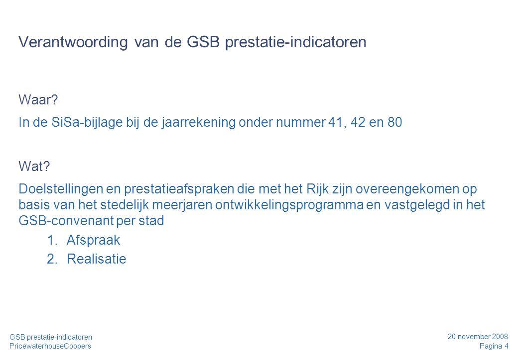 20 november 2008 Pagina 4 GSB prestatie-indicatoren PricewaterhouseCoopers Verantwoording van de GSB prestatie-indicatoren Waar? In de SiSa-bijlage bi