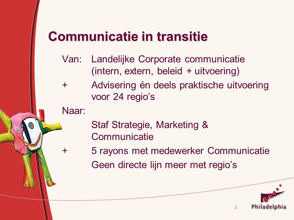2 Communicatie in transitie Van:Landelijke Corporate communicatie (intern, extern, beleid + uitvoering) + Advisering én deels praktische uitvoering voor 24 regio's Naar: Staf Strategie, Marketing & Communicatie + 5 rayons met medewerker Communicatie Geen directe lijn meer met regio's