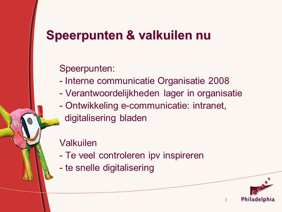 3 Speerpunten & valkuilen nu Speerpunten: - Interne communicatie Organisatie 2008 - Verantwoordelijkheden lager in organisatie - Ontwikkeling e-communicatie: intranet, digitalisering bladen Valkuilen - Te veel controleren ipv inspireren - te snelle digitalisering
