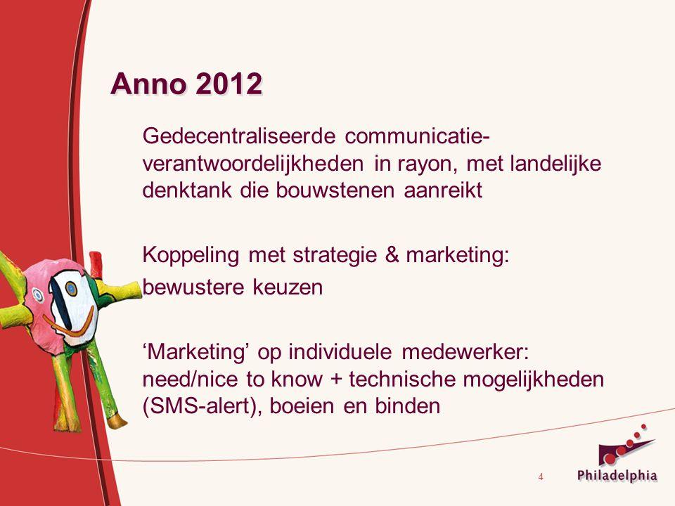 4 Anno 2012 Gedecentraliseerde communicatie- verantwoordelijkheden in rayon, met landelijke denktank die bouwstenen aanreikt Koppeling met strategie & marketing: bewustere keuzen 'Marketing' op individuele medewerker: need/nice to know + technische mogelijkheden (SMS-alert), boeien en binden