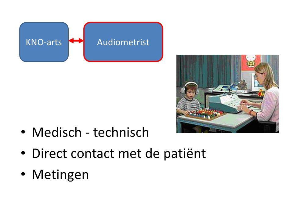 KNO-arts Audiometrist Medisch - technisch Direct contact met de patiënt Metingen