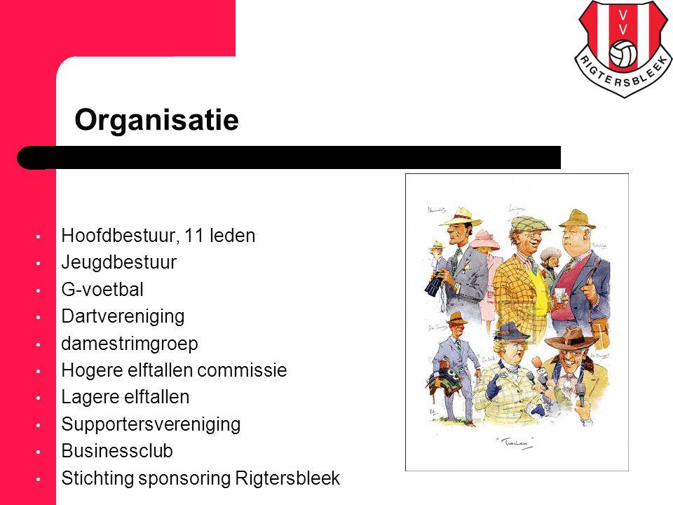 Hoofdbestuur, 11 leden Jeugdbestuur G-voetbal Dartvereniging damestrimgroep Hogere elftallen commissie Lagere elftallen Supportersvereniging Businessc