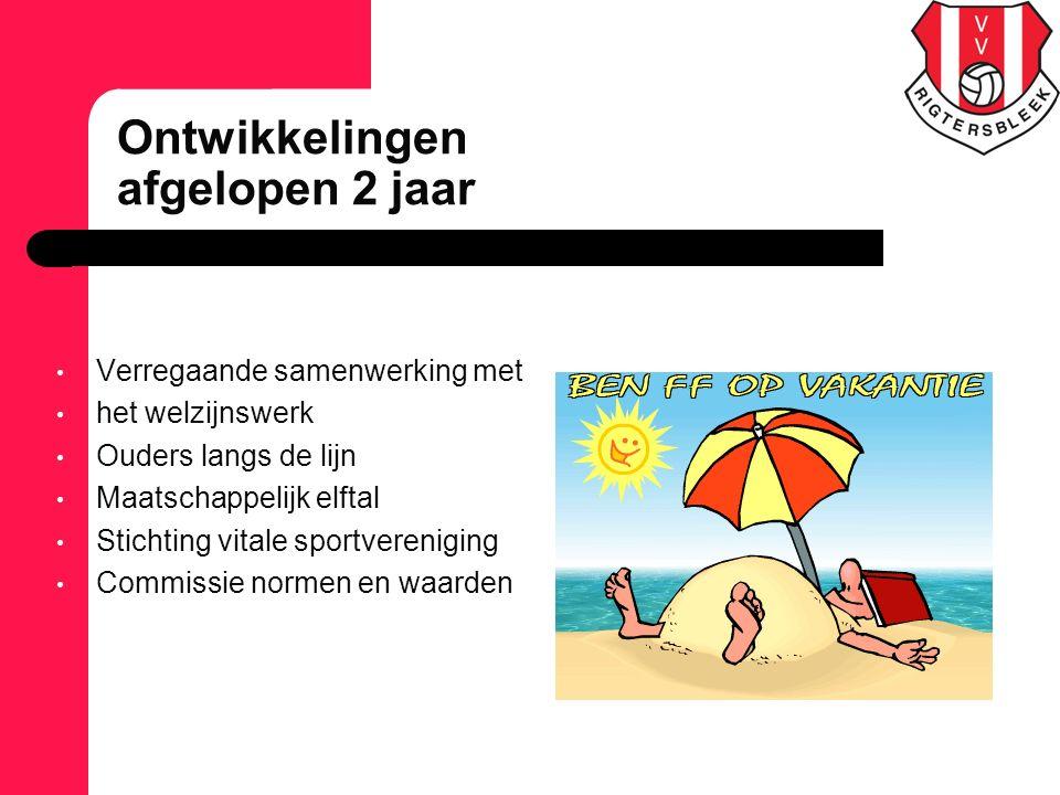 Verregaande samenwerking met het welzijnswerk Ouders langs de lijn Maatschappelijk elftal Stichting vitale sportvereniging Commissie normen en waarden