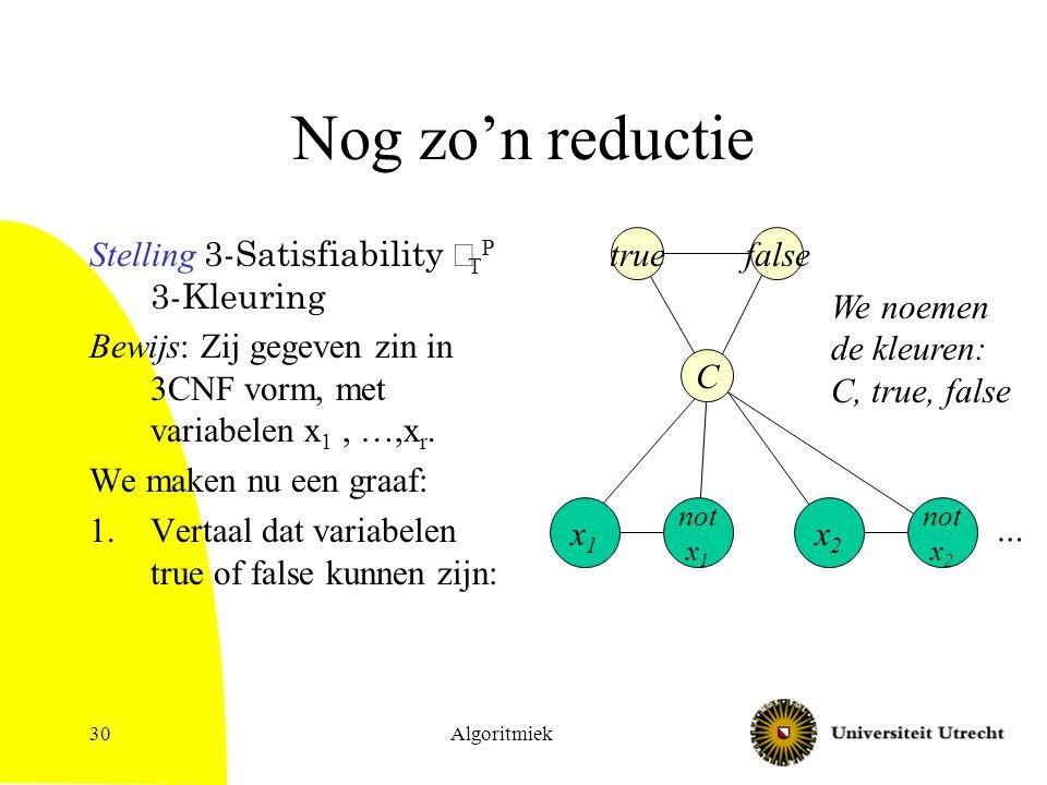 Algoritmiek30 Nog zo'n reductie Stelling 3-Satisfiability  T P 3-Kleuring Bewijs: Zij gegeven zin in 3CNF vorm, met variabelen x 1, …,x r.