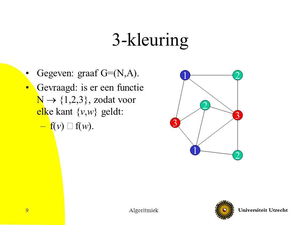 Algoritmiek9 3-kleuring Gegeven: graaf G=(N,A).