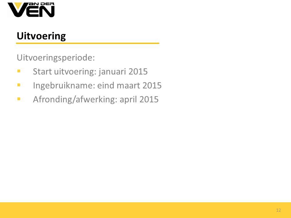 Uitvoering Uitvoeringsperiode:  Start uitvoering: januari 2015  Ingebruikname: eind maart 2015  Afronding/afwerking: april 2015 12