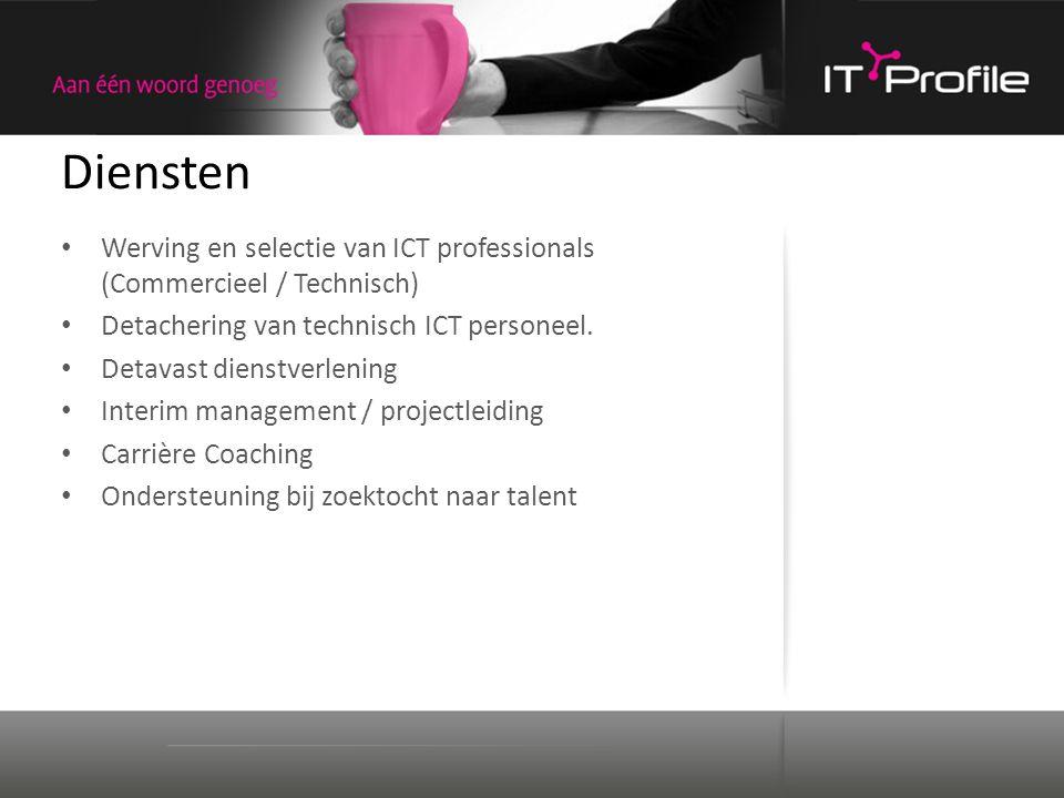 Diensten Werving en selectie van ICT professionals (Commercieel / Technisch) Detachering van technisch ICT personeel. Detavast dienstverlening Interim