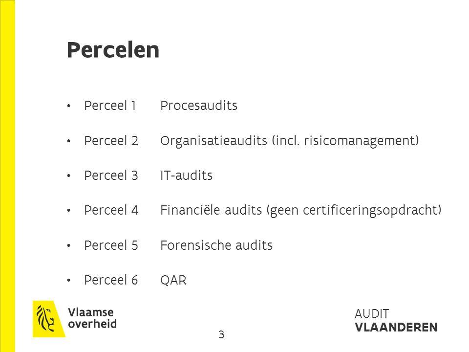 4 AUDIT VLAANDEREN cascades en dagprijzen (eBTW/iBTW) Perceel 1 procesaudits : Leveranciersjuniorseniormanagerpartner 1.