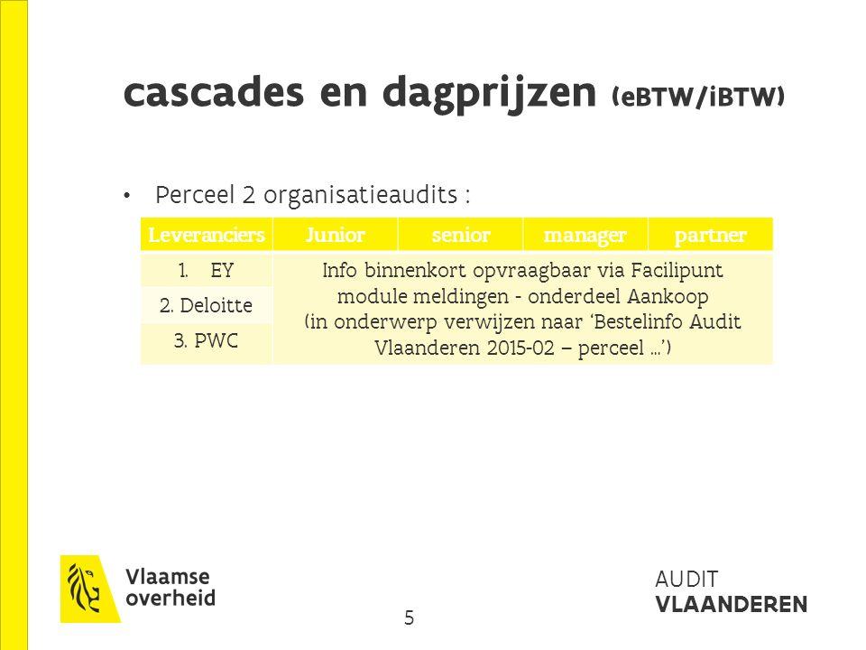 6 AUDIT VLAANDEREN cascades en dagprijzen (eBTW/iBTW) Perceel 3 IT-audits : Leveranciersjuniorseniormanager 1.