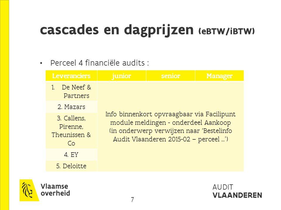 7 AUDIT VLAANDEREN cascades en dagprijzen (eBTW/iBTW) Perceel 4 financiële audits : LeveranciersjuniorseniorManager 1.
