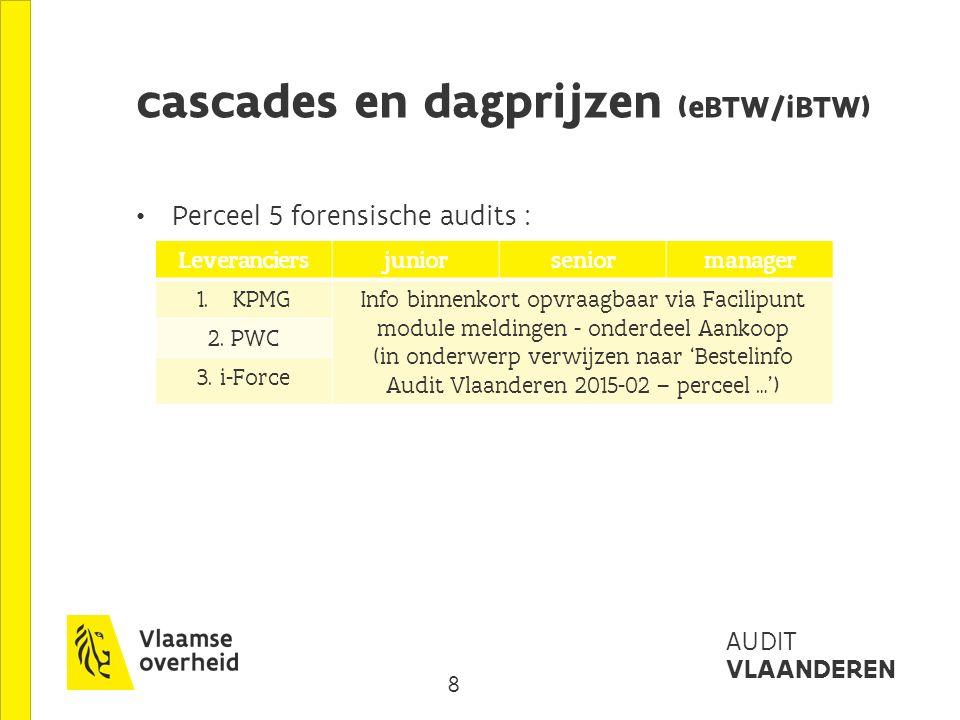 8 AUDIT VLAANDEREN cascades en dagprijzen (eBTW/iBTW) Perceel 5 forensische audits : Leveranciersjuniorseniormanager 1.