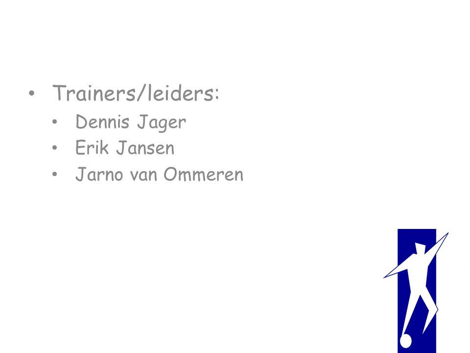 Trainers/leiders: Dennis Jager Erik Jansen Jarno van Ommeren