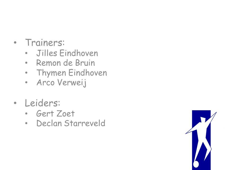 Trainers: Jilles Eindhoven Remon de Bruin Thymen Eindhoven Arco Verweij Leiders: Gert Zoet Declan Starreveld