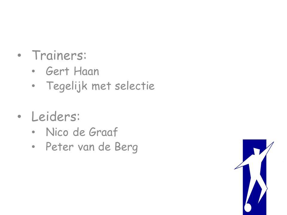 Trainers: Gert Haan Tegelijk met selectie Leiders: Nico de Graaf Peter van de Berg