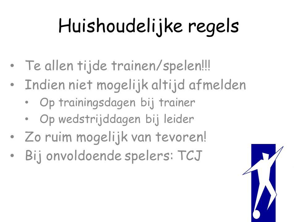 Huishoudelijke regels Te allen tijde trainen/spelen!!.