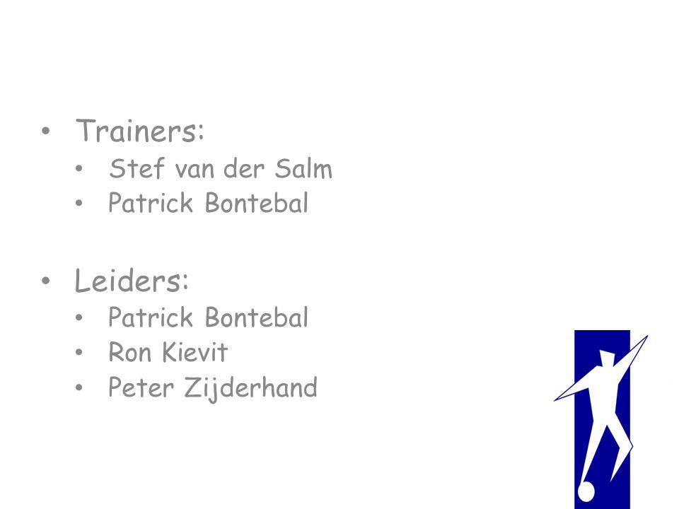 Trainers: Stef van der Salm Patrick Bontebal Leiders: Patrick Bontebal Ron Kievit Peter Zijderhand