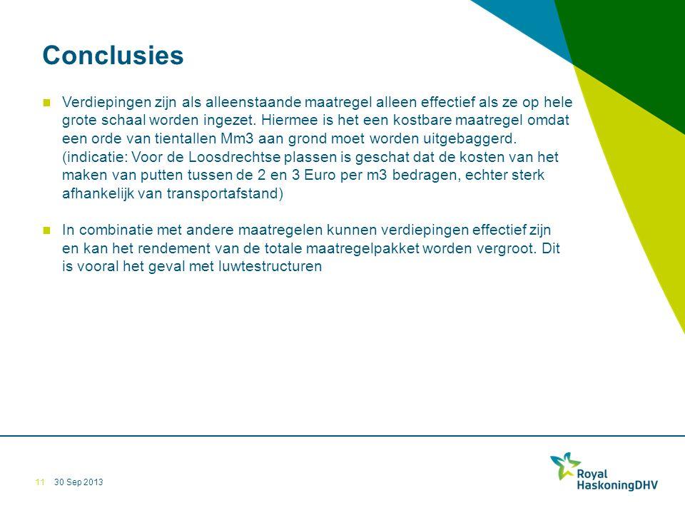 30 Sep 2013 Conclusies Verdiepingen zijn als alleenstaande maatregel alleen effectief als ze op hele grote schaal worden ingezet.