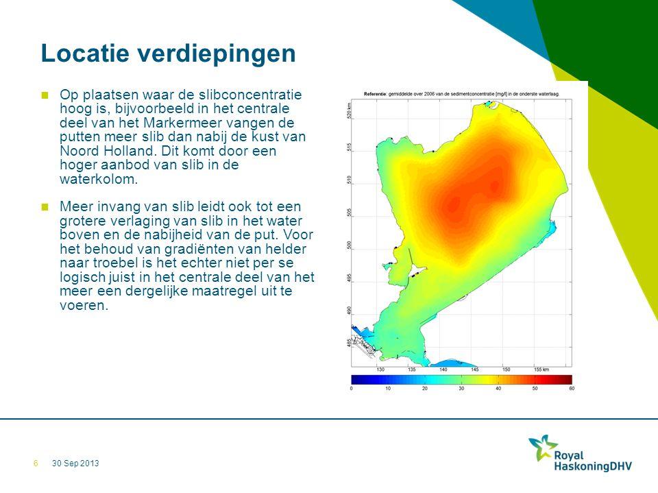 30 Sep 2013 Locatie verdiepingen Op plaatsen waar de slibconcentratie hoog is, bijvoorbeeld in het centrale deel van het Markermeer vangen de putten meer slib dan nabij de kust van Noord Holland.