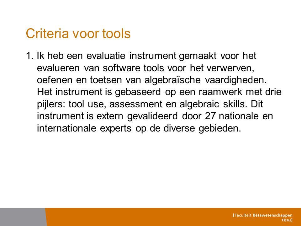 Criteria voor tools 1.