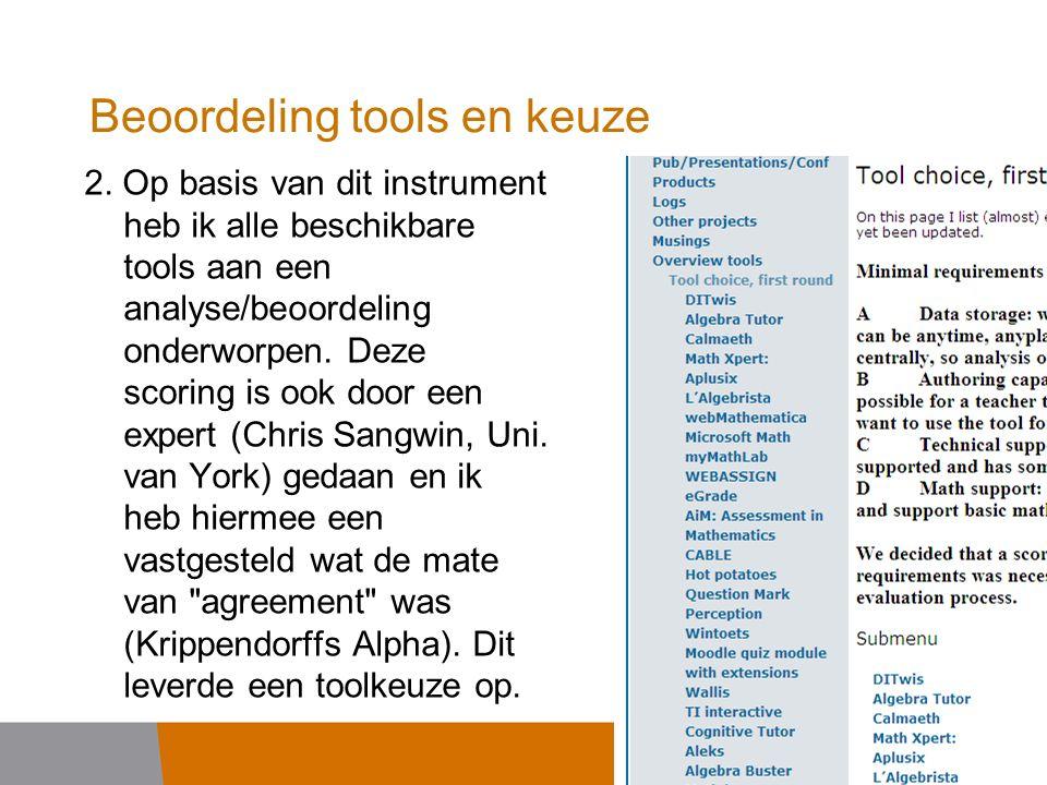 Beoordeling tools en keuze 2.
