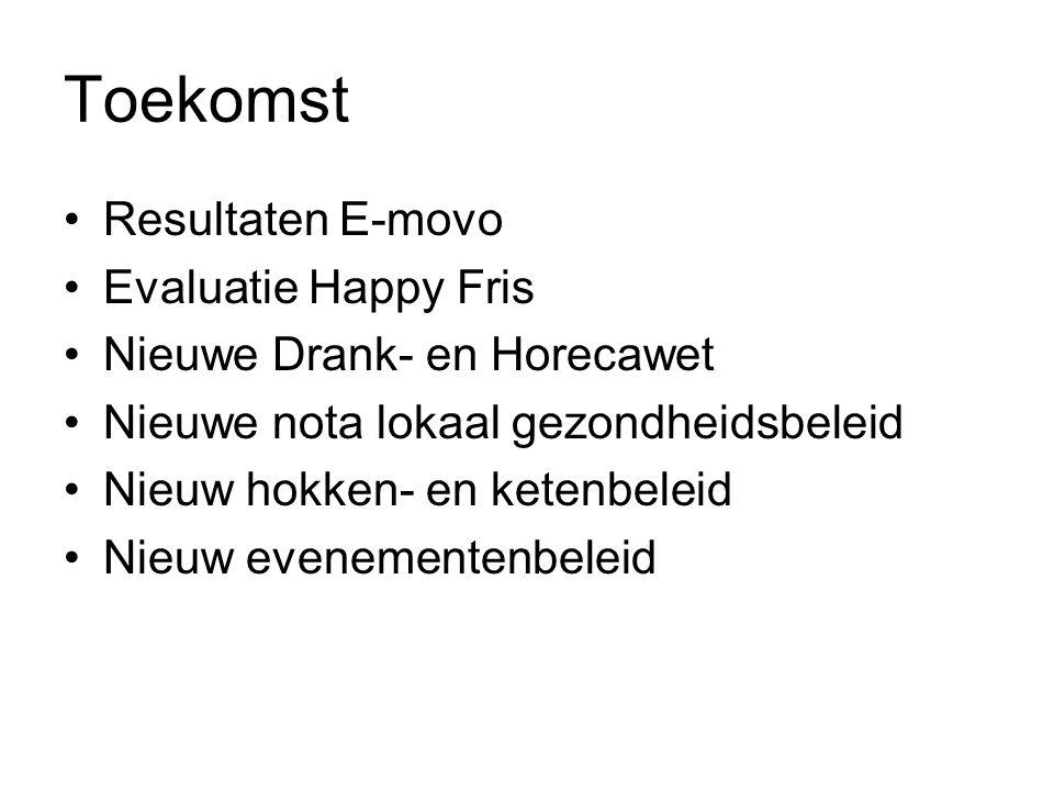 Toekomst Resultaten E-movo Evaluatie Happy Fris Nieuwe Drank- en Horecawet Nieuwe nota lokaal gezondheidsbeleid Nieuw hokken- en ketenbeleid Nieuw evenementenbeleid