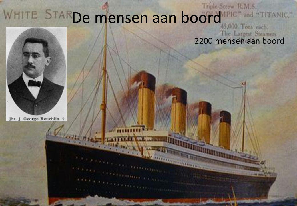 Er waren veel rijke en beroemde mensen aan boord. 1 van drie nederlanders aan boord was Reuchlin. Hij was directeur van de HAL. De mensen aan boord 22