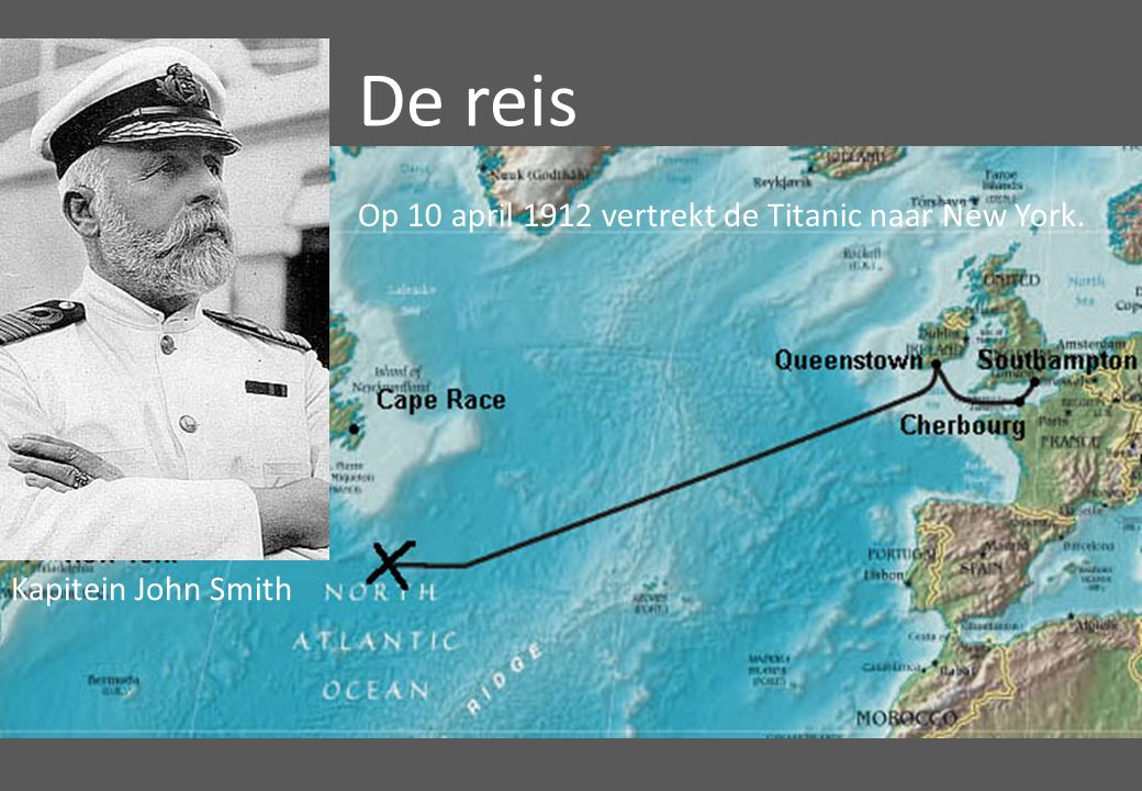 Op 10 april 1912 vertrekt de Titanic naar New York. De reis Kapitein John Smith