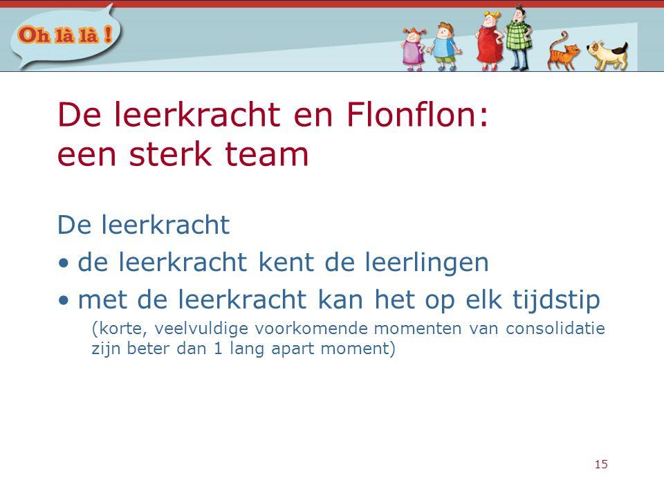 15 De leerkracht en Flonflon: een sterk team De leerkracht de leerkracht kent de leerlingen met de leerkracht kan het op elk tijdstip (korte, veelvuld