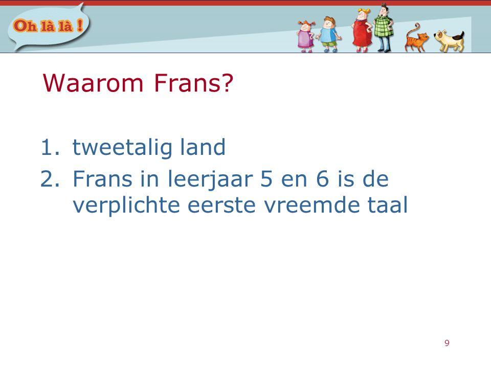 9 Waarom Frans? 1.tweetalig land 2.Frans in leerjaar 5 en 6 is de verplichte eerste vreemde taal