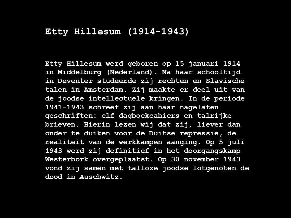 De nagelaten geschriften ( 1941-1943) De nagelaten geschriften van Etty Hillesum scheppen een uniek inzicht in de ontwikkeling van deze jonge joodse vrouw tijdens de vervolging in de Tweede Wereldoorlog.