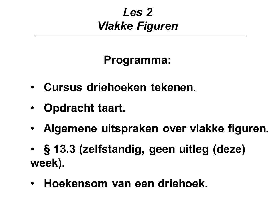 Les 2 Vlakke Figuren Programma: Cursus driehoeken tekenen.
