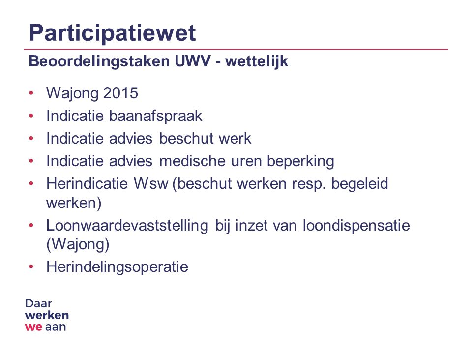 Participatiewet Beoordelingstaken UWV - wettelijk Wajong 2015 Indicatie baanafspraak Indicatie advies beschut werk Indicatie advies medische uren beperking Herindicatie Wsw (beschut werken resp.