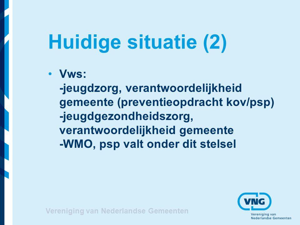 Huidige situatie (2) Vws: -jeugdzorg, verantwoordelijkheid gemeente (preventieopdracht kov/psp) -jeugdgezondheidszorg, verantwoordelijkheid gemeente -WMO, psp valt onder dit stelsel Vereniging van Nederlandse Gemeenten
