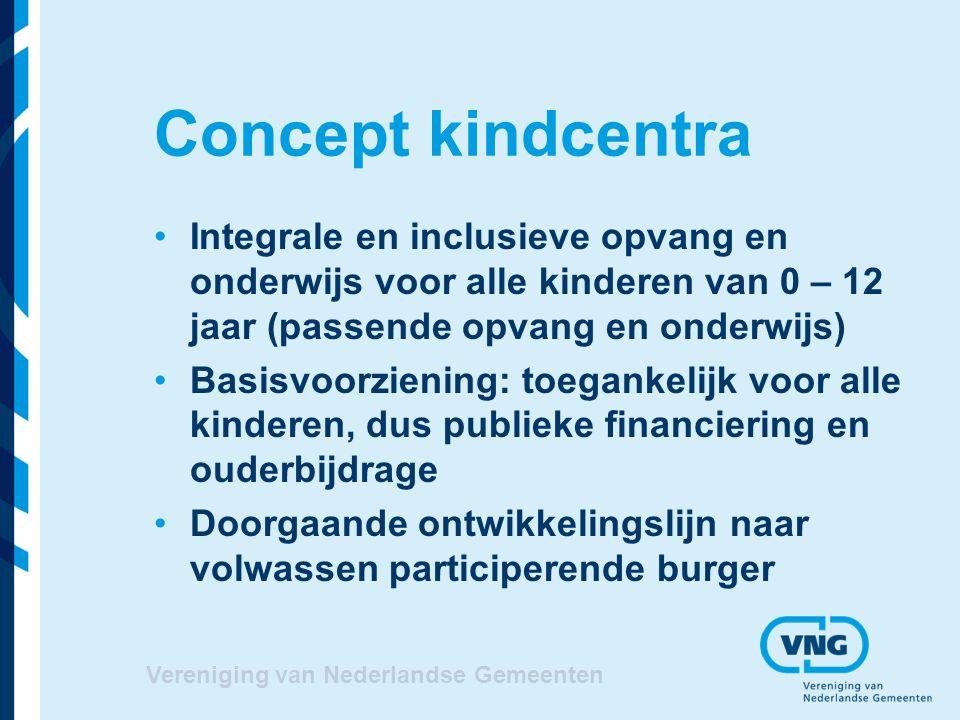 Concept kindcentra Integrale en inclusieve opvang en onderwijs voor alle kinderen van 0 – 12 jaar (passende opvang en onderwijs) Basisvoorziening: toegankelijk voor alle kinderen, dus publieke financiering en ouderbijdrage Doorgaande ontwikkelingslijn naar volwassen participerende burger Vereniging van Nederlandse Gemeenten