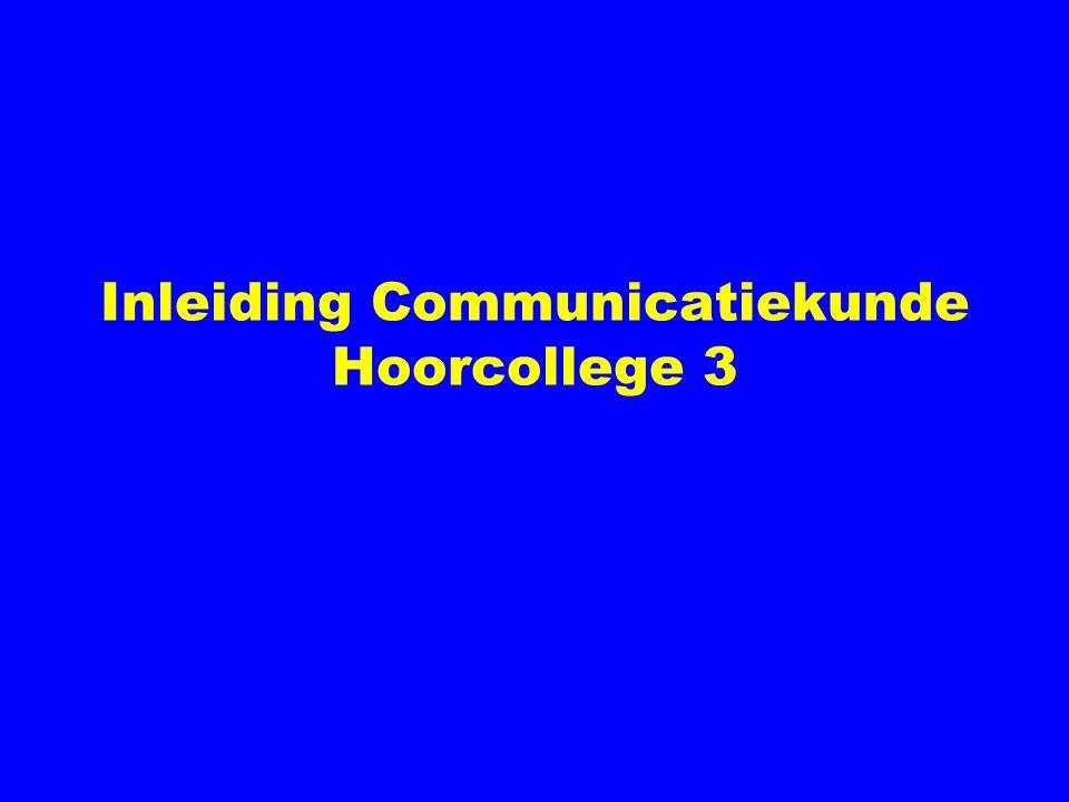 Inleiding Communicatiekunde Hoorcollege 3
