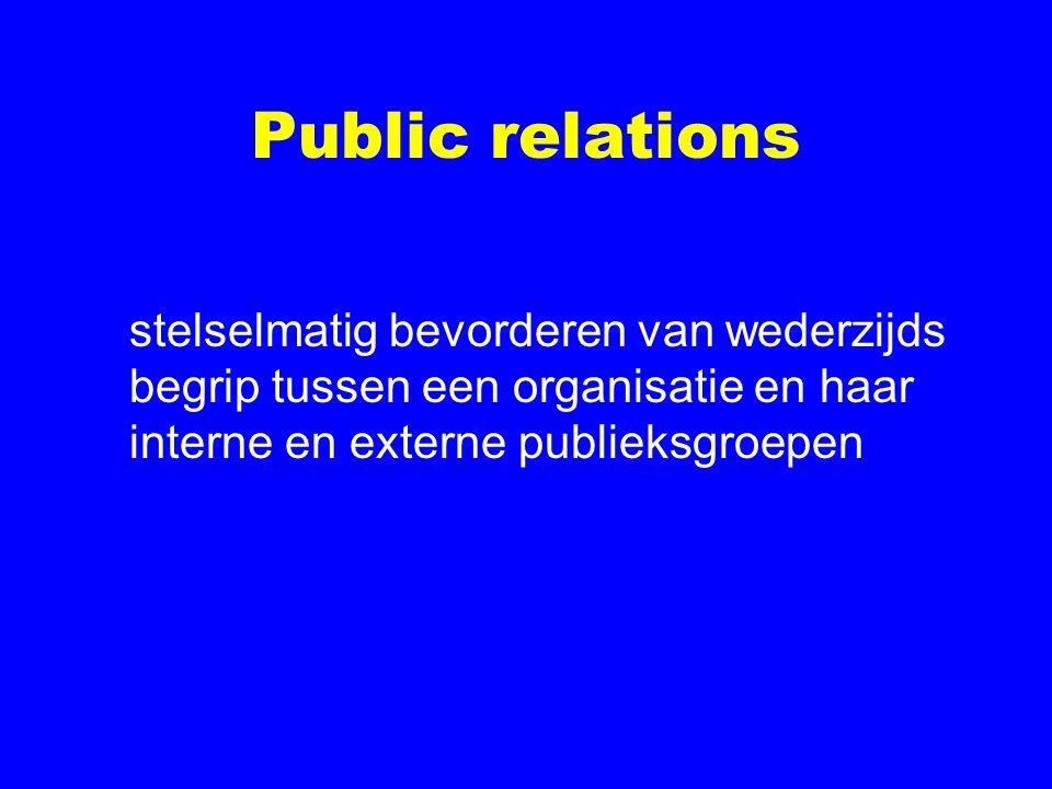 Public relations stelselmatig bevorderen van wederzijds begrip tussen een organisatie en haar interne en externe publieksgroepen