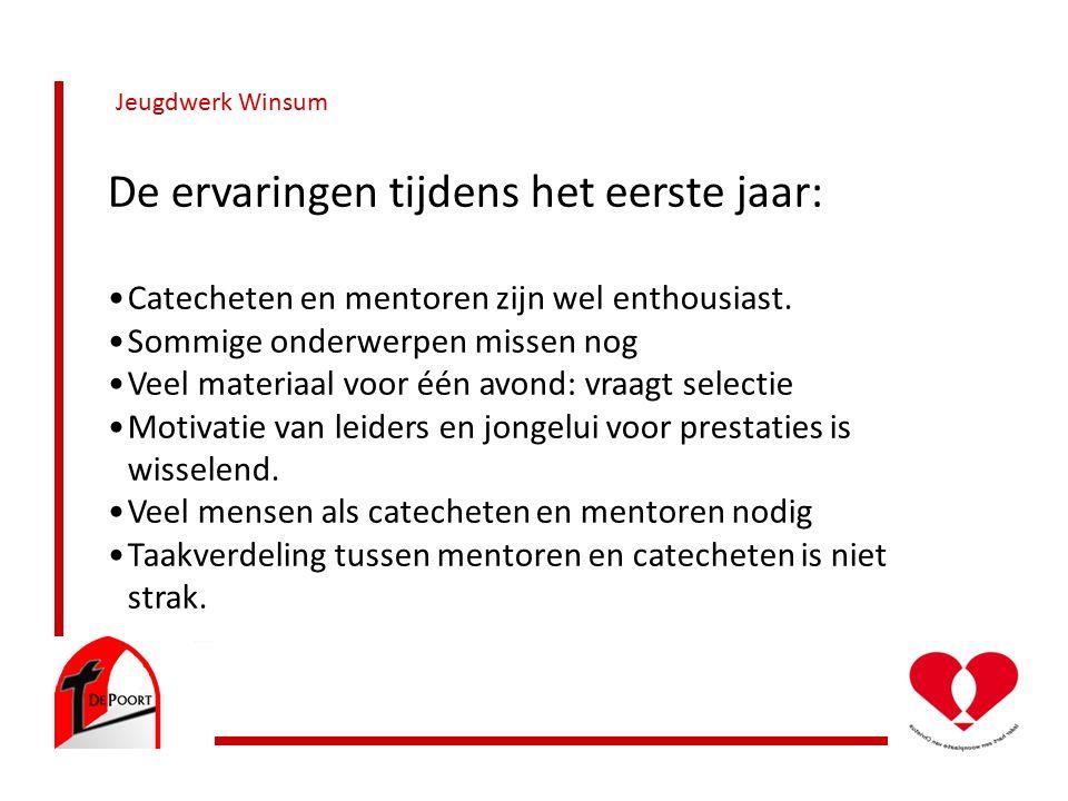 Jeugdwerk Winsum De ervaringen tijdens het eerste jaar: Catecheten en mentoren zijn wel enthousiast.